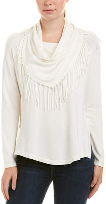 Central Park West Tassel Cowl Neck Pullover Sweater
