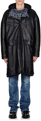 Balenciaga Men's Leather Oversized Taxi Coat