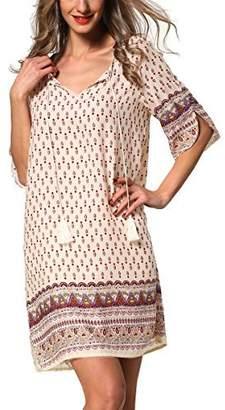 ARANEE Sexy Women Floral 3/4 Sleeve V-Neck Beach Boho Casual Mini Dress