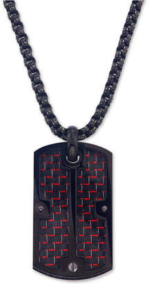 Esquire Men's Jewelry Dog Tag Pendant Necklace in Red Carbon Fiber and Black Ip Stainless Steel