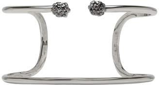 Alexander McQueen Silver Double Thin Raw Twin Skull Bracelet