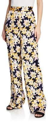 Cinq à Sept Margot Floral Silk Wide-Leg Cuffed Pants