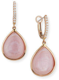 Frederic Sage Luna Pink Mother-of-Pearl Earrings with Diamonds in 18K Pink Gold