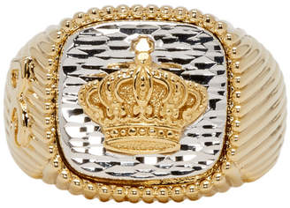Dolce & Gabbana Gold and Silver Crown Signet Ring