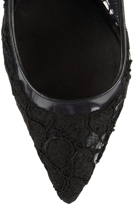 Dolce & Gabbana Leather-trimmed lace and PVC Mary Jane pumps