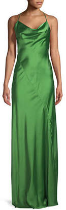 Diane von Furstenberg Sleeveless Cowl-Neck Bias-Seam Satin Evening Gown