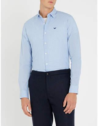 Emporio Armani Polka-dot slim-fit cotton-blend shirt