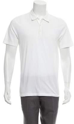 Versace Logo Embroidered Short Sleeve Polo Shirt