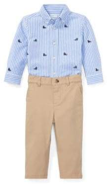 Ralph Lauren Childrenswear Baby Boy's Two-Piece Cotton Oxford Mesh Shirt Chino Pants Set