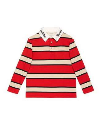 Gucci Macro Stripe Collared Shirt, Size 4-10