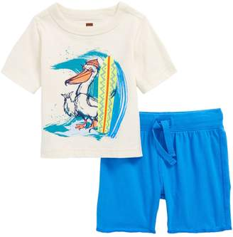 Tea Collection Surfing Pelican T-Shirt & Knit Shorts Set (Baby Boys)