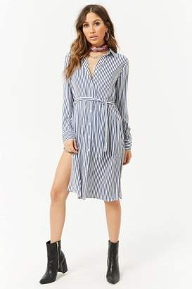 Forever 21 Belted Striped Shirt Tunic