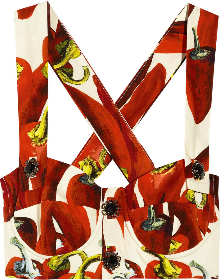 Dolce & Gabbana Chili pepper-print cotton bustier