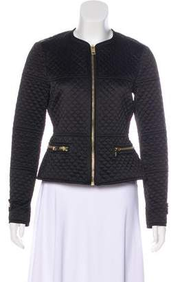 Burberry Collarless Quilted Zip-Up Jacket
