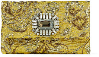 Jimmy Choo TITANIA Gold Brocade Fabric Clutch Bag