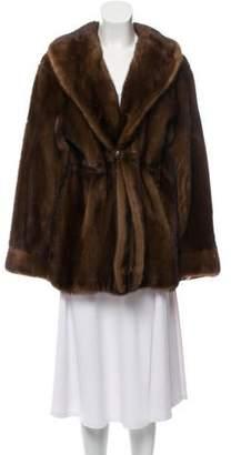 Fur Mink Fur Shawl Collar Coat