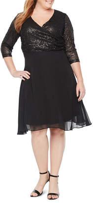 BLU SAGE Blu Sage 3/4 Sleeve Sequin Top Skater Dress - Plus