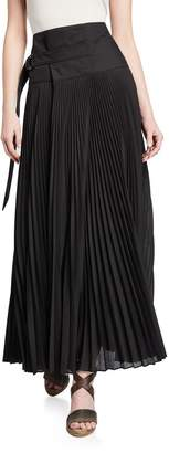 Brunello Cucinelli Pleated Cotton D-Ring Maxi Skirt