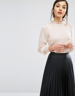 Oasis Chiffon Sleeve Knit Sweater $58 thestylecure.com