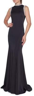 Mac Duggal Ieena for High-Neck Sleeveless Bodycon Gown w/ Beaded Trim
