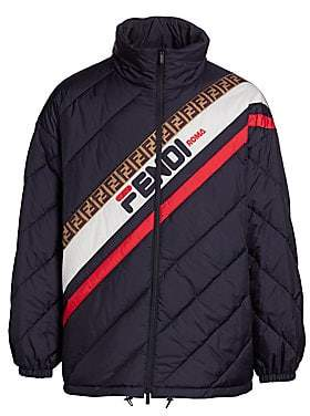 Fendi Men's Diagonal Quilted Striped Puffer Jacket