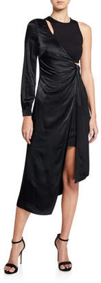 b86ab2ca2c881 Donna Mizani One-Sleeve Asymmetric Wrap Dress