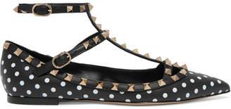 Valentino Garavani The Rockstud Polka-dot Leather Point-toe Flats - Black