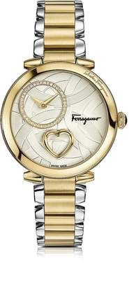 Salvatore Ferragamo Cuore Stainless Steel and Gold IP Diamonds and Beating Heart Women's Bracelet Watch