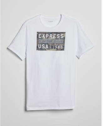 Express camo logo supersoft crew neck tee