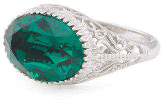 Sterling Silver Swarovski Crystal East West Oval Emerald Ring