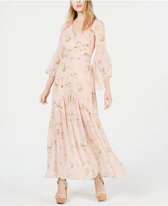 AVEC LES FILLES Long-Sleeve Floral Maxi Dress