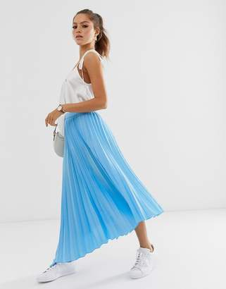 Asos Design DESIGN asymmetric pleated midi skirt with godet