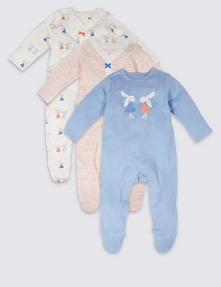 Marks and Spencer 3 Pack Bunny Pure Cotton Sleepsuits