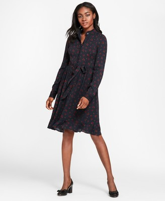 Brooks Brothers Rose-Print Crepe Ruffled Shirt Dress