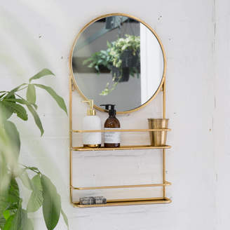 Co The Forest & Gold Or Silver Circular Bathroom Mirror With Shelves