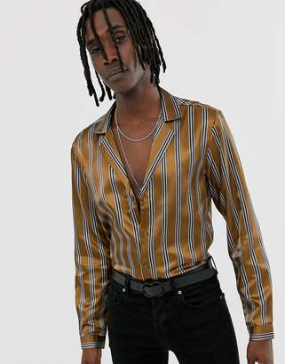 Asos Design DESIGN long sleeve regular fit stripe shirt in gold satin