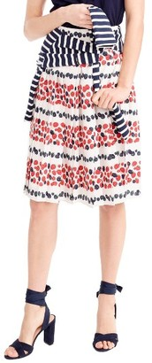 Women's J.crew Berry Print Pleat Skirt $98 thestylecure.com