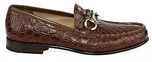 Salvatore Ferragamo Men's Crocodile Gancini Bit Loafers