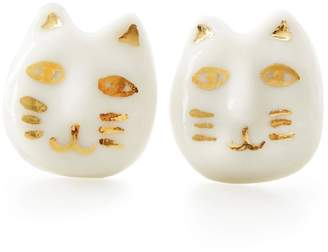 POPORCELAIN - Porcelain Lucky Cat Stud Earrings