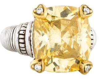 Judith Ripka Citrine & Diamond Cocktail Ring