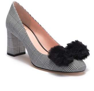 Kate Spade Carine Houndstooth Faux Fur Bow Pump