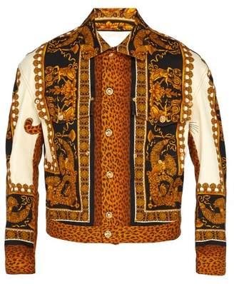 Versace Baroque Print Denim Jacket - Mens - Gold