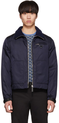 Prada Navy Gabardine Convertible Jacket