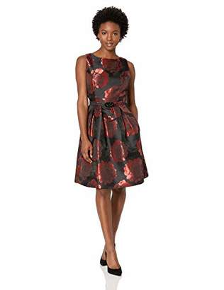 Jessica Howard Women's Petite Belted Dress with Pleated Skirt