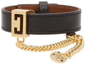 Givenchy Black Leather GV Bracelet