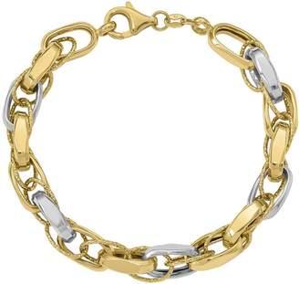 "Italian Gold 7"" Two-Tone Interlocking Link Bracelet 14K, 8.8g"