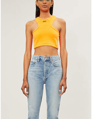 3e4bd52a9f967c Off-White Branded sleeveless cropped stretch-towling top
