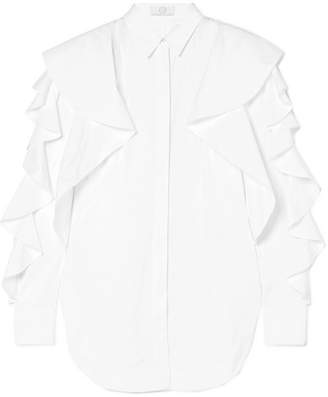 Sara Battaglia Ruffled Cotton-poplin Shirt - White