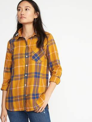 Old Navy Relaxed Plaid Twill Classic Shirt for Women