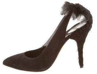 Oscar de la Renta Fabia Feather-Embellished Pumps w/ Tags